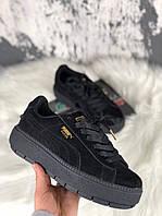 Женские кроссовки Puma Rihanna Suede Platform Full Black. Замша, фото 1