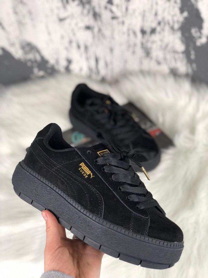 Женские кроссовки Puma Rihanna Suede Platform Full Black. Замша