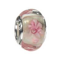 Бусина типа пандора,  стекло, цвет розовый