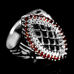 Гранат, серебро 925, кольцо, 1480КЦГ
