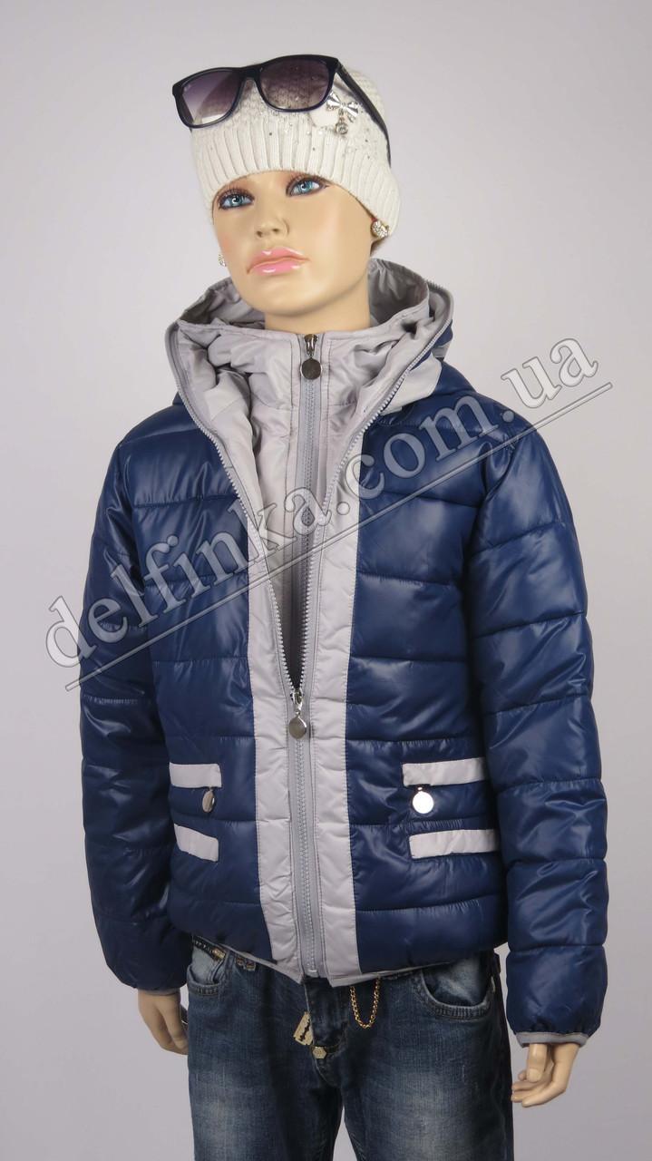 Куртка для девочек 18-23 delfin-free, р.116-140, 6-11 лет, синий, фото 1