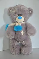 Мишка Тедди 56 х 31 см  серый/гол