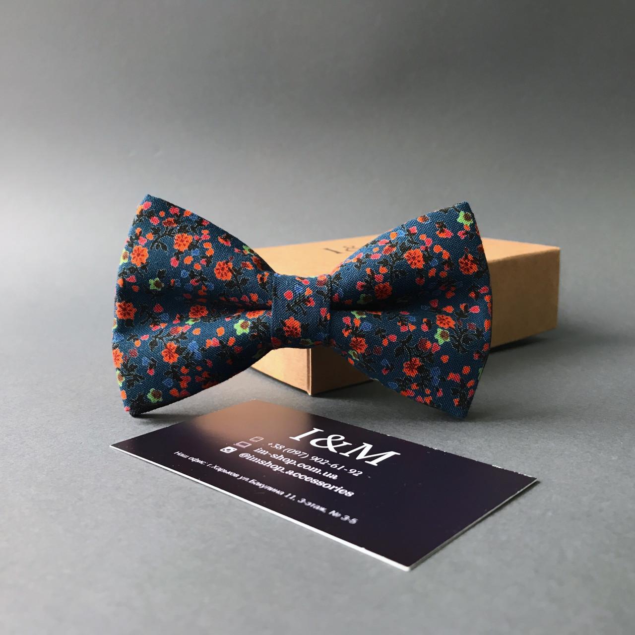 Галстук-бабочка I&M Craft синяя с цветочками (020026)
