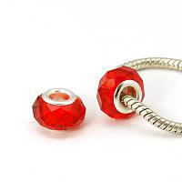 Бусина типа пандора, граненая, стекло, цвет красный