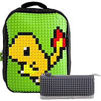 806bf6ecbdec Рюкзак (ранец) школьный Upixel Classic-Зеленый + пенал Пиксели WY-A001Ka 31
