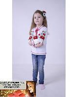 Детская Вышиванка для девочки длинный рукав на 1, 2, 3, 7,8 лет