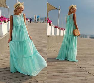 """Длинное шифоновое платье-двойка """"Амели"""" без рукавов (8 цветов)"""