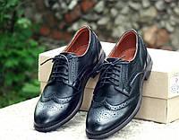 Туфли броги мужские черные натуральная кожа натуральная подкладка классика 36347a760e9e9