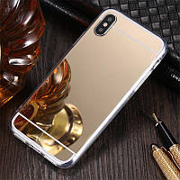 Чехол для Apple Iphone XR силикон зеркальный золотой