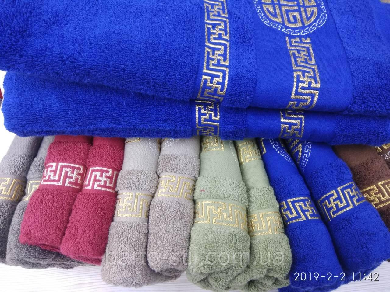 Махровые полотенца в комплекте с вышивкой для бани Размер 70Х140 6 шт.