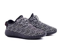 Кроссовки, кеды Adidas Yeezy Boost копия черные с белым , для занятий спортом бега)