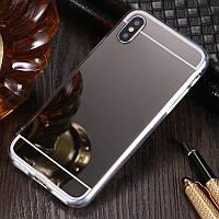 Чехол для Apple Iphone XR силикон зеркальный темный металлик