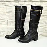 Сапоги женские кожаные демисезонные, устойчивый каблук., фото 2