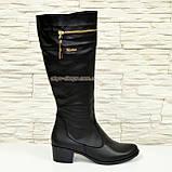 Сапоги женские кожаные демисезонные, устойчивый каблук., фото 3