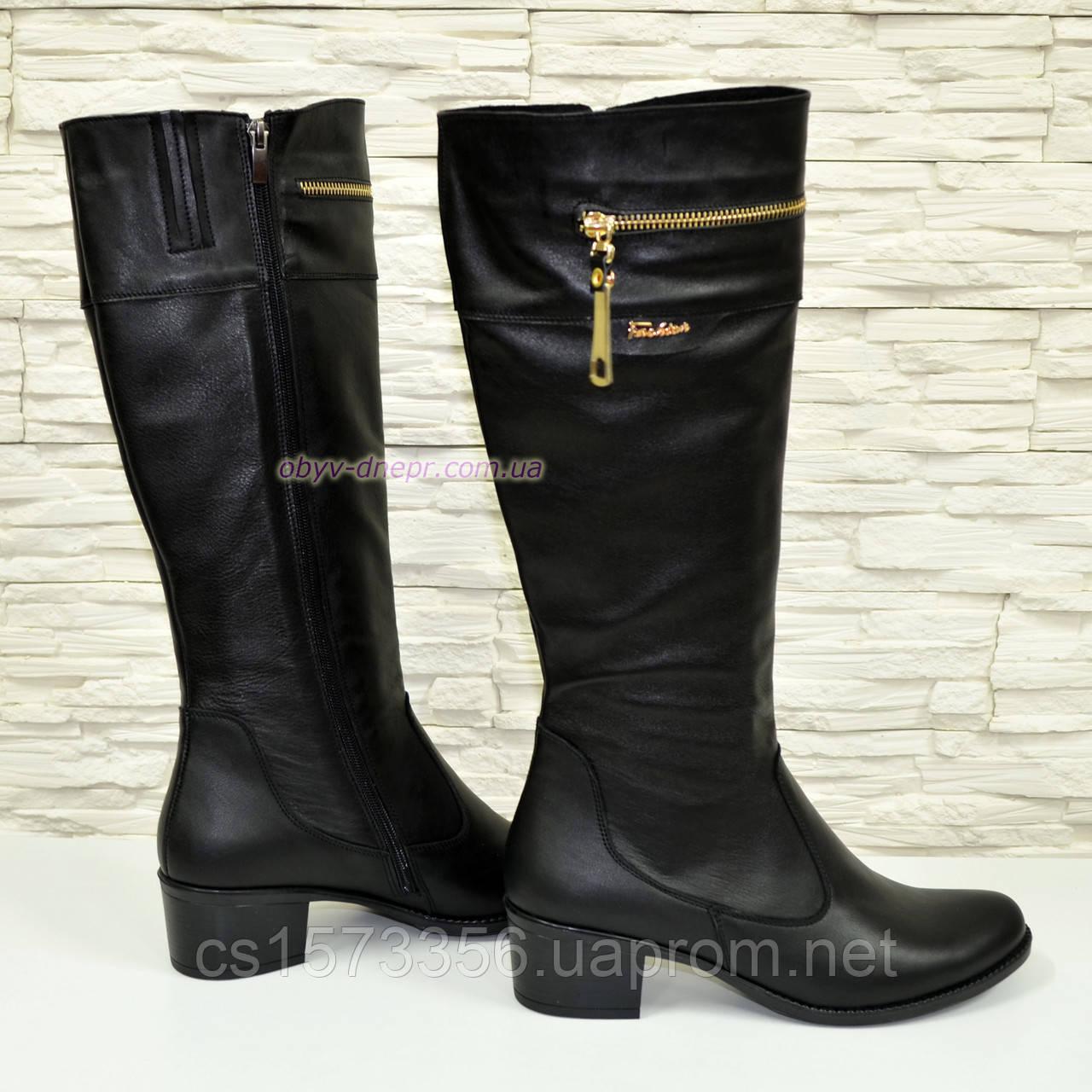 Сапоги женские кожаные демисезонные, устойчивый каблук.