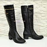 Сапоги женские кожаные демисезонные, устойчивый каблук., фото 4