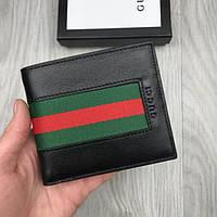 12efa51defb4 Качественный кожаный кошелек Gucci Web черный натуральная кожа мужской  женский бумажник Гуччи люкс реплика