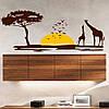 Интерьерная наклейка Африканское сафари на обои (самоклеющиеся наклейки животные жирафы) матовая 1000х400 мм