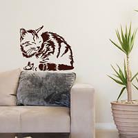 Интерьерная наклейка Сонная кошка на стену (наклейки животные коты небольшой стикер самоклейка) матовая 300х250 мм, фото 1