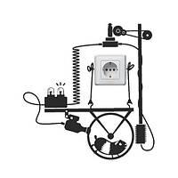 Наклейка на розетку Хом'як-електростанція (наклейки тварини декор розеток і вимикачів матова, фото 1