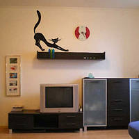 Кот утром виниловая интерьерная наклейка на стену (наклейки животные декор стен коты небольшой стикер) матовая , фото 1