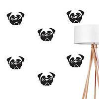 Интерьерная наклейка на стену Мопсики собаки набор наклеек (наклейки животные декор стен) матовая , фото 1