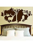 Виниловые наклейки В лесу интерьерная на обои (самоклеющиеся Олень Рога лес 3Д на стену) матовая 1000х480 мм, фото 1