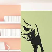 Інтер'єрна наклейка Ласкавий кошеня (наклейки тварини коти кіт невеликий стікер декор) матова 230х335 мм, фото 1