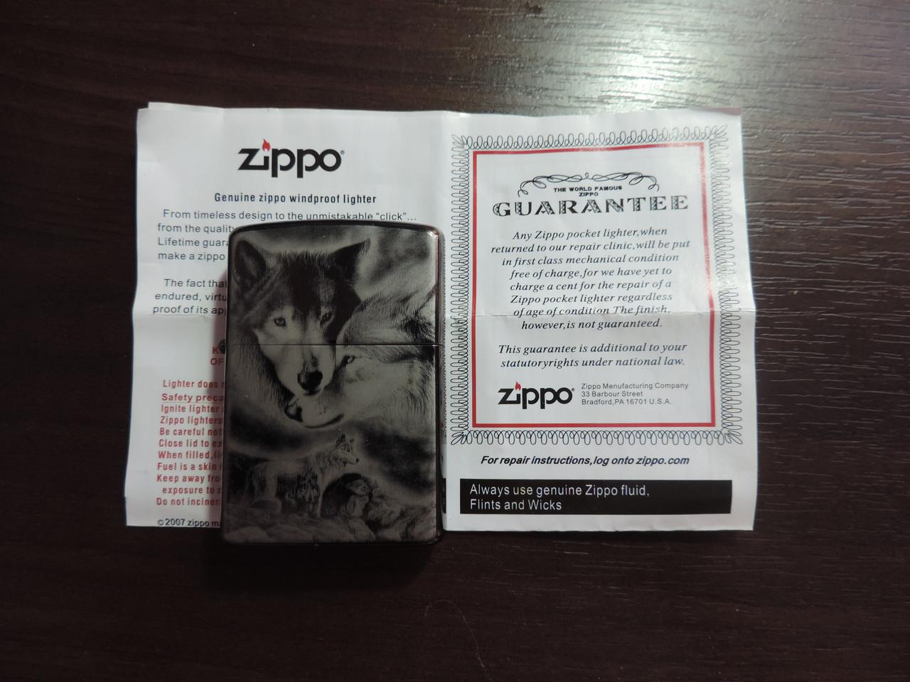 Зажигалка бензиновая Зиппо Zippo «NIGHT-WOLF»Лазерная гравировка,копия