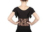 Блуза для бальных танцев  с гипюром Dance&Sport NM12 черная, масло 34