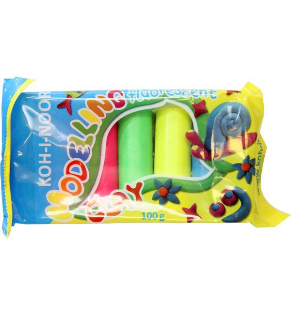 Пластилин KOH-I-NOOR Fluorescent (неон) 5 цветов, 100 гр, в полиет. упаковке