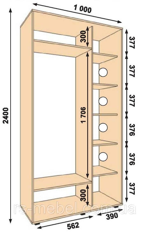 Шкаф-купе 1000*450*2400, 2 двери (Алекса)