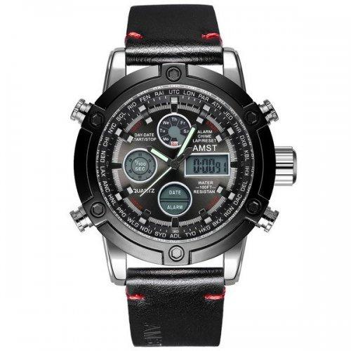 Чоловічий наручний годинник AMST 3022 Срібно-Чорний (SUN3364)