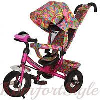 Велосипед детский трехколесный TILLY Trike T-363-2 Малиновый,  надувные колеса, фара, музыка
