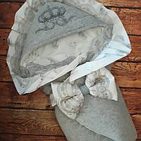 Велюровый конверт с вышивкой короны, рюшами и кружевом, фото 1