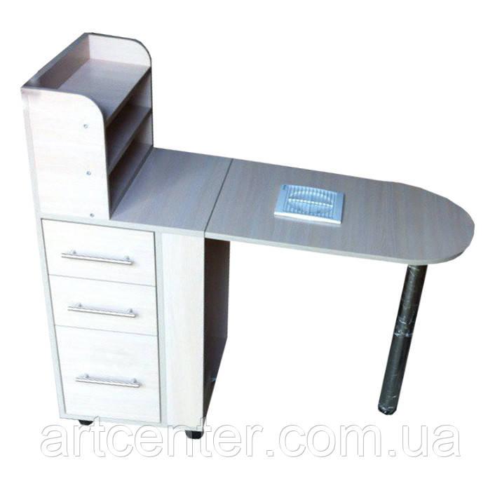 Стол для маникюра свыдвижными ящиками и полочкой для лаков