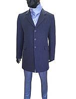 Пальто темно-синее в полоску №613 о- JSP 24105/2
