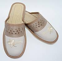 Домашние кожаные женские тапочки, 40 размер