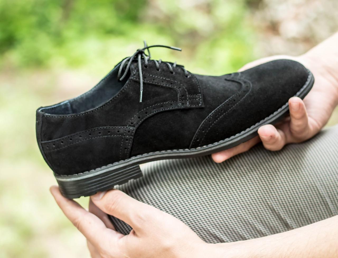 433925a3d Туфли броги мужские черные натуральная замша классические весенние -  Доберман шоп - уличный шмот в Харькове