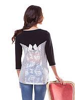 Красивая женская блуза с гипюровой спинкой (L)