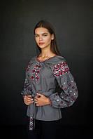 Стильная вышитая сорочка в украинском стиле серого цвета (4199), фото 1