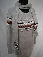 Туники женские теплые с шарфиком. Оптовая распродажа., фото 1