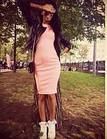 Платье футляр нежно розового цвета трикотажное без рукавов