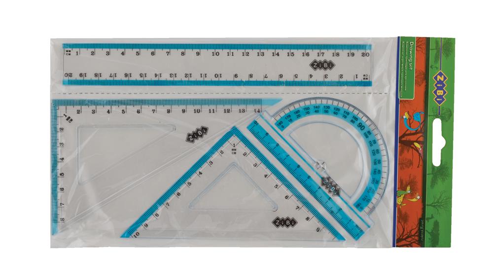 """Лінійки в наборі """"ZiBi"""" 20см 4предм. з блакитною смужкою ZB.5680-14"""