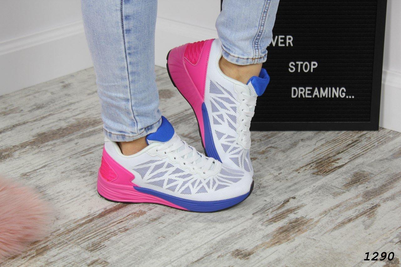 Женские кроссовки стильные белые с розовым и синим текстиль