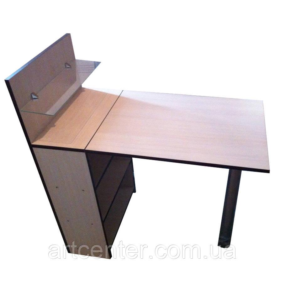 Стол для маникюра со складной столешницей и стеклянной полочкой для лаков