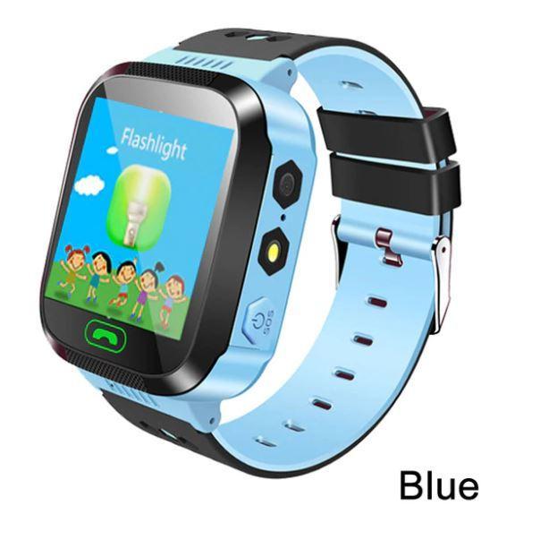 Детские часы-телефон Q02 с GPRS, прослушка, сенсорный экран, камера, GPRS+LBS+Wi-Fi. Голубые