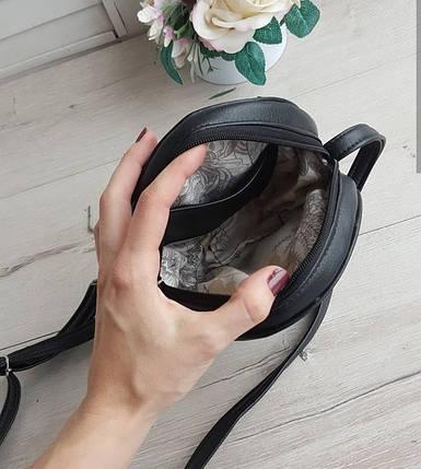 Женская круглая сумка через плечо черная, фото 2