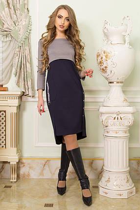 Стильное платье асимметричное полуоблегающее с накладным карманном длинный рукав серое батал, фото 2