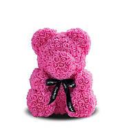 Мишка из 3D роз Розовый с бантом 40см